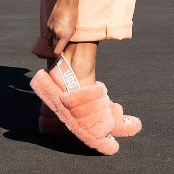 """UGG"" Winter High Quality Winter Classic Popular Women Cute Fluff Yeah Slippers Shoes Rose Red I/A"