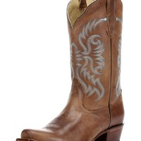 Women's Old West Tan Half Moon Toe Boot