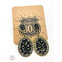 MINI OVAL POST EARRING AND SMALL OVAL WITH BLACK RHINESTONES