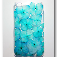 Handmade ipod touch 4 case, Resin with Real Flowers, Hydrangea