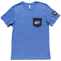 Knowledge is Power Pocket Tee - Blue/Navy