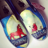 Personalized handpainted shoes, The Lion King Fanart shoes, custom sneakers Simba, Timon, Pumba