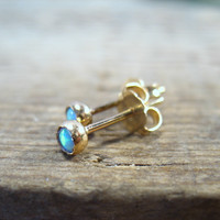 Stud Earrings 14k Solid Gold with White Opal 3mm