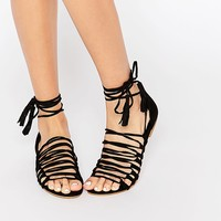 New Look Strappy Detail Tie Up Flat Sandals