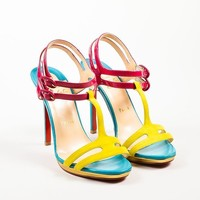 PEAP Christian Louboutin Pink and Blue Leather T-Strap   Double Tutti   Sandals