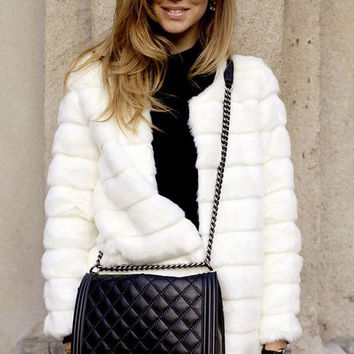 Whie Faux Fur Fluffy Coat