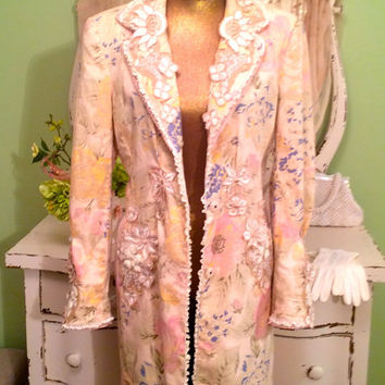 Beaded Jacket - Vintage Appliqué Coat - Couture Duster - Long Linen Trench - Bohemian Floral - One of a Kind - Chic Shabby Coat Medium Large