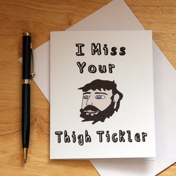 Naughty Card, Dirty Card, Card For Boyfriend, Card For Husband, Man With Beard, Thigh Tickler, Adult Humor, Funny Card, Adult Card