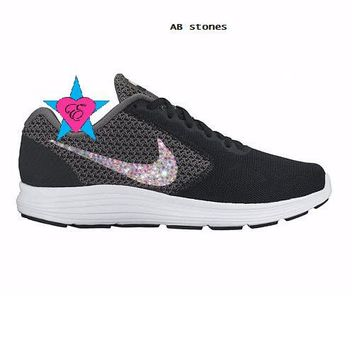 Bling Crystal Nike Revolution 3 Running Shoes