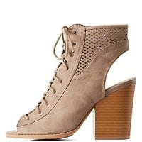 QUPID PERFORATED LACE-UP BOOTIES