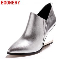 egonery new fashion pumps woman 2017 high heel genuine leather wedges high heel spring pumps lady pointed toe party shoes 33-43