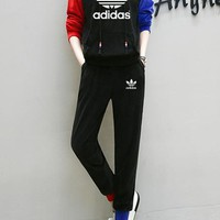 """Adidas"" Women Multicolor Clover Letter Print Hooded Long Sleeve Sweater Trousers Set Two-Piece Sportswear"