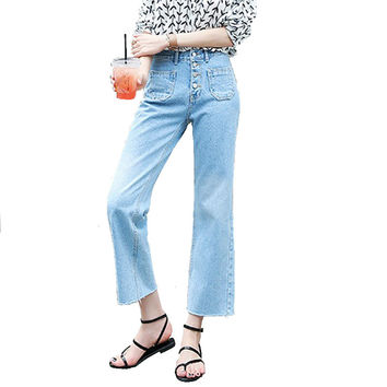 Women's fashion casual loose wide leg pants Lady's high waist pocket ninth ankle flare crop jeans