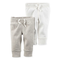 carter's® 2-Pack Babysoft Ribbed Cotton Cuffed Faux-Drawstring Pant