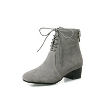 Lace Up Women Short Boots Square Heels 7820