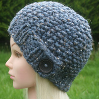 Hand Knit hat- Women's hat- blue tweed with black wooden button- winter hat- Rustic Mega Chunky with wool