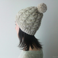 Hand Knitted Cable Chunky Beanie in Sand Beige - Beanie with Pom Pom - Seamless - Wool Blend - Winter Fall