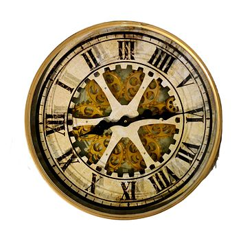 Antique Gold/Bronze Moving Gears Wall Clock