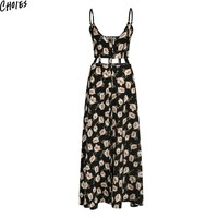 Black Floral Print V Neck Hollow Out Waist Spaghetti Strap Split Maxi Dress Women Backless Buttons Up Front Casual Beach Dresses