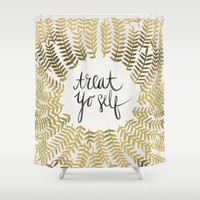 Treat Yo Self – Gold Shower Curtain by Cat Coquillette