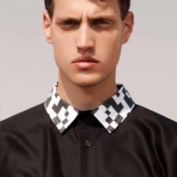 Button Up Men's Shirt - Black Shirt with printed collar - Tailored shirt - Short sleeve shirt