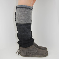Leg Warmers in Grey Charcoal and Black - Upcycled Wool Sweaters