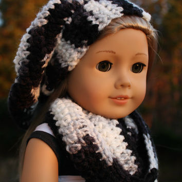 grey, black, white mix beret style crochet slouch hat with infinity scarf,  18 inch doll clothes American girl Maplelea