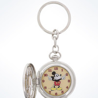 Disney Parks Mickey Mouse Metal Pocket Watch Keychain New with Tags
