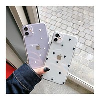 Phone Case For iPhone 11 6 6s 7 8 Plus XR 12 Pro XS Max 12 Mini Cartoon Love Heart Transparent Soft TPU For iPhone SE 2020 Cover