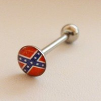 Rebel Confederate Flag Flat Top Tongue Barbell Ring 316L Surgical Steel Body Jewelry