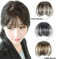 2017 Women Clip Bangs Hair Extension Fringe Hairpieces False Synthetic Hair Clips Front Neat Bang
