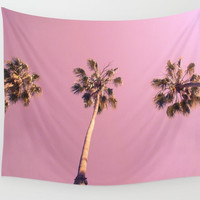 Wall Tapestry, Home Decor, Large Size Wall Art, Photo Tapestry, Palm Tree Tapestry, Living Room Wall Art, Palm Trees, Pink, Dorm