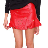 Jupiter Flare Skirt - Red Leather