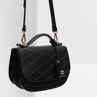 TOPSTITCHED CROSS BODY BAG WITH FOLDOVER FLAP