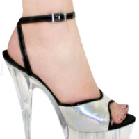 Silver and Black High Heel Shoes