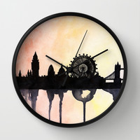 London Watercolour Skyline Wall Clock by Paint The Moment