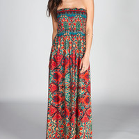 Angie Paisley Scarf Maxi Dress Red  In Sizes