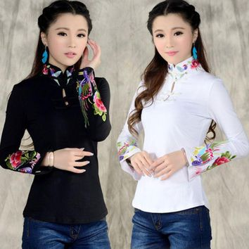 CREYET7 Chinese style shirt women's 2016 autumn spring ethnic black white stand collar embroidered t-shirt female long-sleeve top blusa