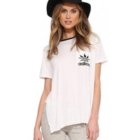 White Adios Maple Print Short Sleeve Kick Pleat Graphic Tee