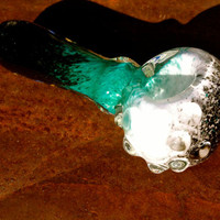 Turquoise Black and White Glass pipe with by NorthLightGlass