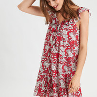 AE Ruffle Neck Shift Dress, Red