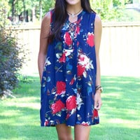 Feeling Free Floral Lace Up Dress {Navy Mix}