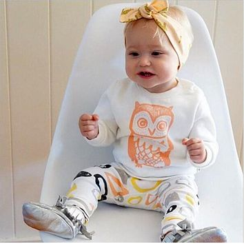ST189 2016 New arrival girl & boys clothes set long sleeve+Pants owl pattern set of clothes newborn baby suit children clothing