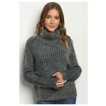 Silky Soft Thick Mock Neck Charcoal Sweater