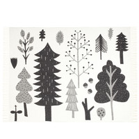 Forest Lambswool Throw - Black & White