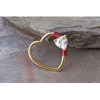Heart Gold Daith Hoop Ring Rook Hoop Cartilage Helix
