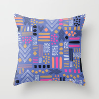 bright Tribal Geo Patchwork Throw Pillow by Crystal ★ Walen
