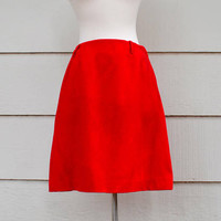 Vintage Red Skirt, Home Made A Line Skirt, Wool Blend, Mod Style with Back Pockets, Size Small,  circa 1960s