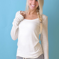 Free People LS Layering Tee (Ivory) - Piace Boutique