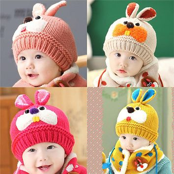 Winter Warm Baby Kids Rabbit Hat Skullies Cute Baby Woolen Beanies Caps Hooded Hat Scarf Earflap Infant Toddlers Knitted Caps